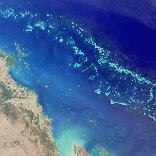 A Grande Barreira de Corais vista pelo satélite. Foto: Nasa