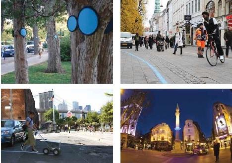As imagens mostram iniciativas de artistas de Boulder (EUA), Copenhague (Dinamarca), Nova York (EUA) e Londres (Inglaterra)