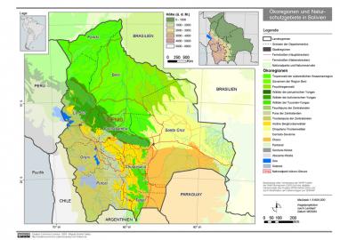 Mapa da Bolívia com o parque Tipsis indicado, no centro. Imagem da Wikipedia.