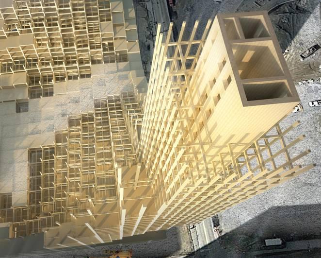 Edifício com 12 andares em madeira na província de Quebec, Canadá - CC BY 2.0 Michael Charters on Evolo