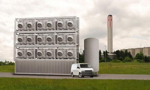 Unidade de sequestro de carbono. Foto da Climeworks