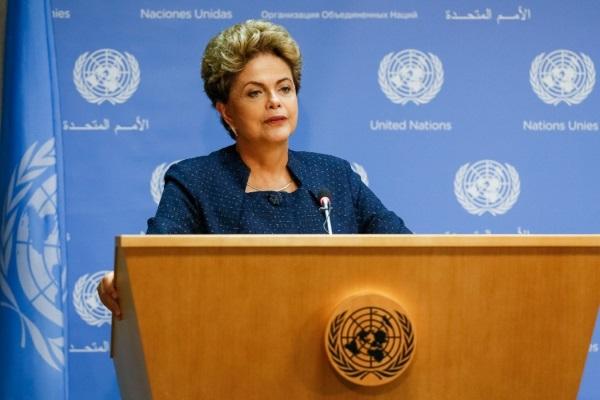 Presidente Dilma Rousseff, durante coletiva de imprensa nas Nações Unidas (foto: Ricardo Stuckert/Presidência da República)
