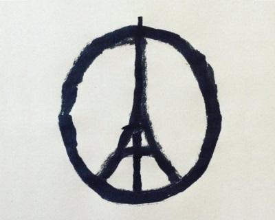 """Desenho """"Peace for Paris"""", criado pelo designer gráfico francês Jean Jullien, que viralizou nas redes sociais depois dos ataques terroristas na capital francesa"""