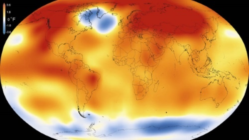 2015 foi o ano mais quente desde que os registros modernos começaram a ser feitos em 1880, de acordo com análise feita pelas agências norte-americanas NASA e NOAA (imagem: Goddard Space Flight Center/NASA)