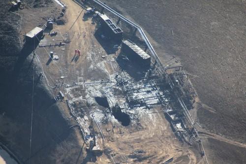 Foto aérea do ponto de vazamento, produzida pela Earthworks/Flickr.