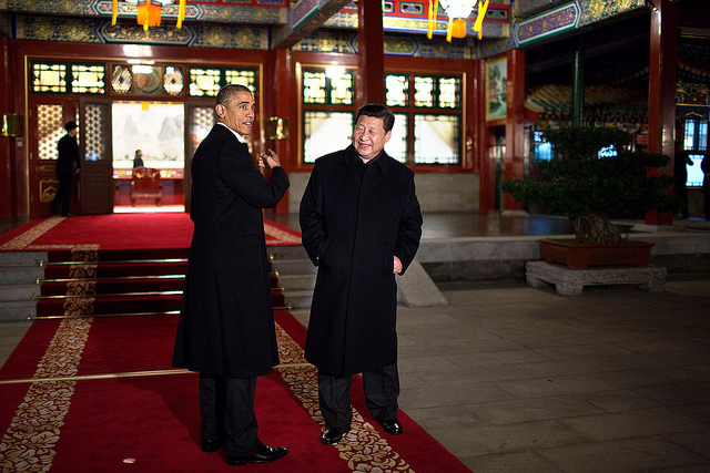 Presidentes Barack Obama (EUA) e Xi Jinping (China), durante encontro em Pequim (foto: Pete Souza/The White House - Flickr)