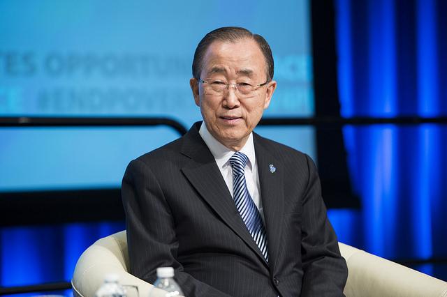 Ban Ki-Moon, secretário-geral das Nações Unidas, durante evento do Banco Mundial em abril passado, em Washington (World Bank Photo Collection/Flickr - Creative Commons)