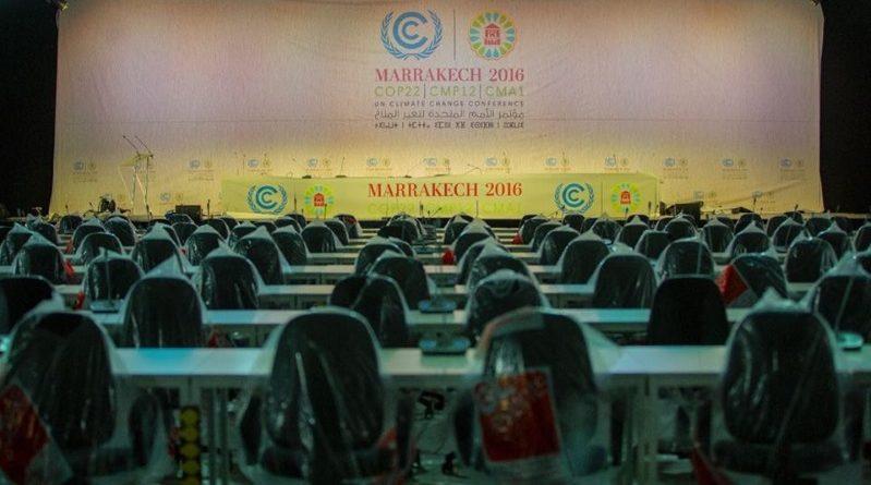 Uma das salas plenárias do complexo construído em Marrakech para a realização da COP 22 (crédito: COP 22/Facebook)