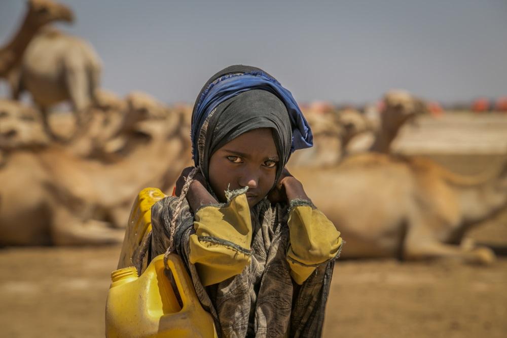 A seca provocada pelo El Niño nos últimos dois anos na Etiópia persistiu em 2017, com mais uma temporada chuvosa com precipitações abaixo da média; mais de oito milhões estão em situação de necessidade no país, como a pequena Sulem Hire, de nove anos, que vive perto da fronteira com a Somália (crédito: Mulugeta Ayene/UNICEF)